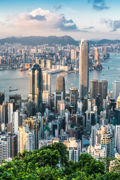 View of the Hong Kong skyline. Built Structure, Exhibition, Famous Place, Urban Skyline, Victoria harbour brics stock pictures, royalty-free photos & images