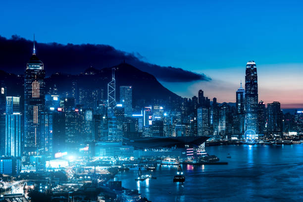 View of the Hong Kong skyline. Central District - Hong Kong, China - East Asia, Hong Kong, Hong Kong Island brics stock pictures, royalty-free photos & images