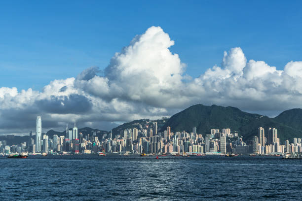 View of the Hong Kong skyline Central District - Hong Kong, Hong Kong, Hong Kong Island, Tsim Sha Tsui, Victoria Harbour - Hong Kong brics stock pictures, royalty-free photos & images
