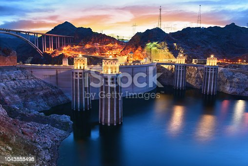 View of the Hoover Dam at blue hour (twilight) in Boulder, Nevada, USA