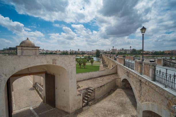 Vista del hornabeque del puente de palmas en Badajoz con la alcazaba árabe de fondo - foto de stock