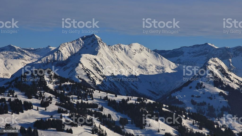 View of the Hornberg and Wasseregrat ski areas stock photo