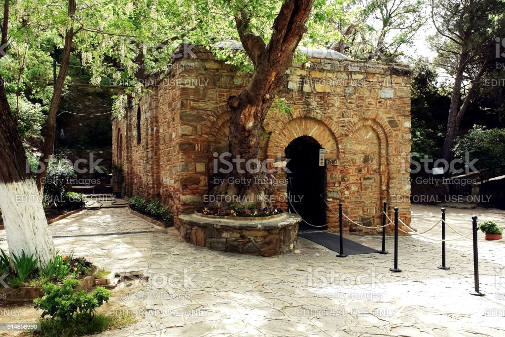 View of the House of the Virgin Mary - chapel. stock photo