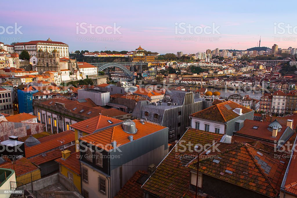 View of the houses in old town Porto, Portugal. stock photo