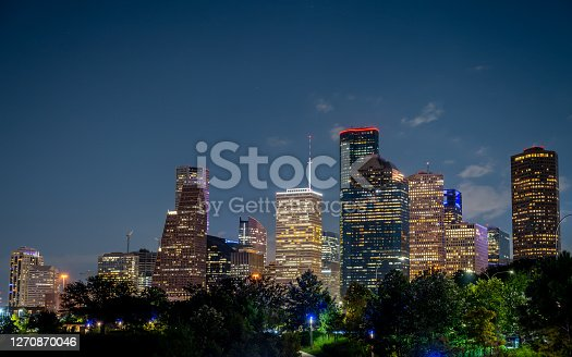 View of the Houston Office Buildings and Contruction Cranes at Night