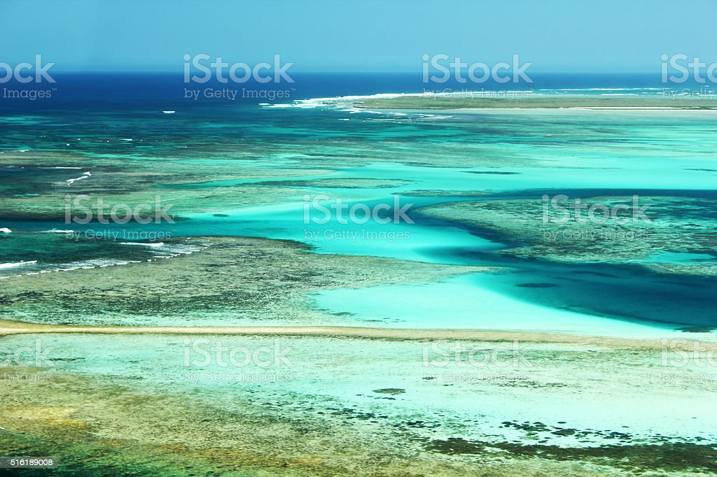 View of the Houtman-Abrolhos-Archipel, Pacific Ocean, Australia stock photo