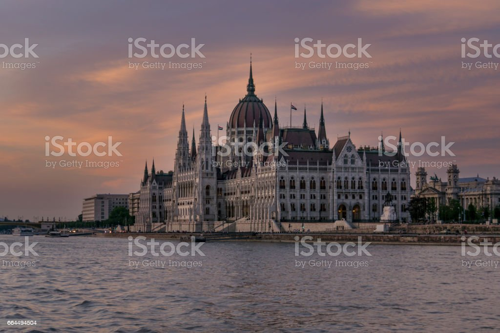 View of the Hungarian Parliament Building at Sunset stock photo