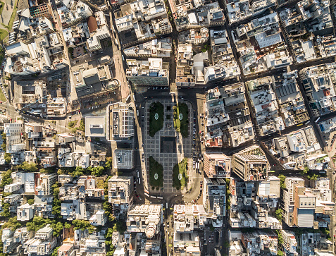 View Of The Independence Square From Above Montevideo Uruguay Stock Photo - Download Image Now