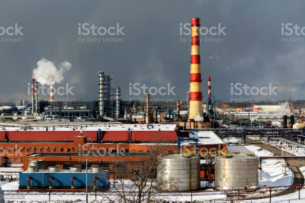 View of the industrial zone. Numerous pipes and structures stock photo