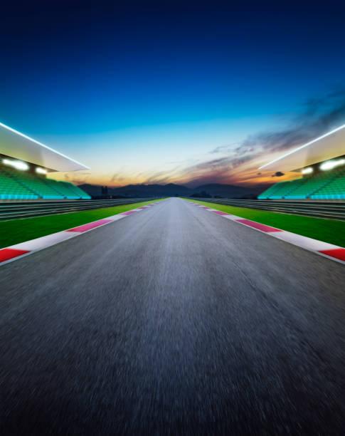 View of the infinity empty asphalt international race track stock photo