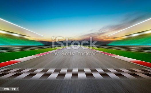 View of the infinity empty asphalt international race track .Night scene .