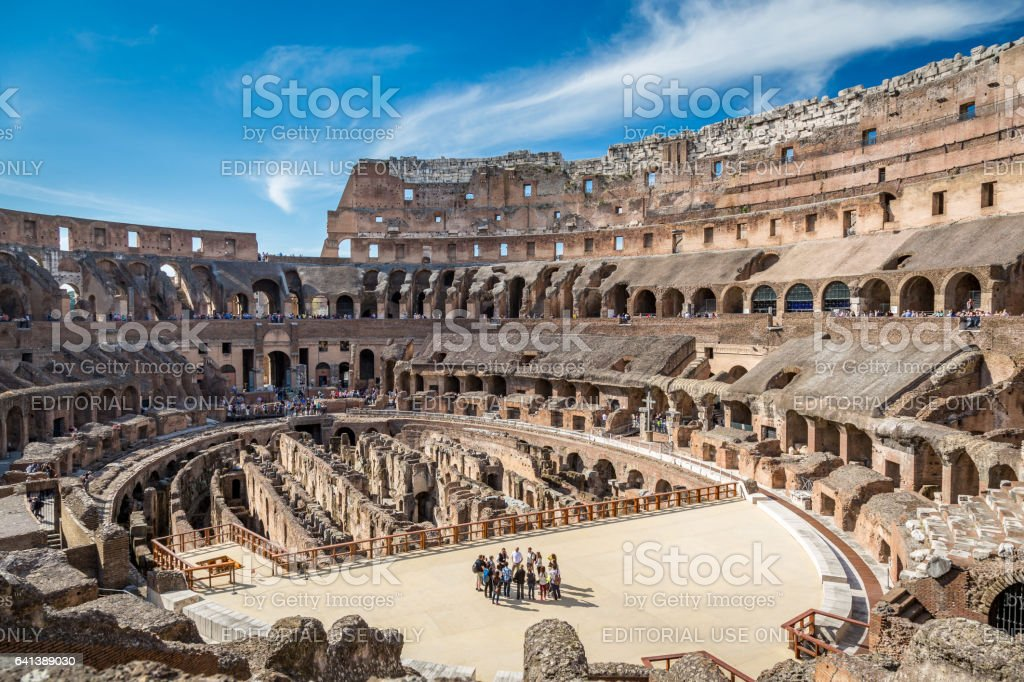 View of the inside of Colosseum in Rome Italy a sunny day in April. stock photo