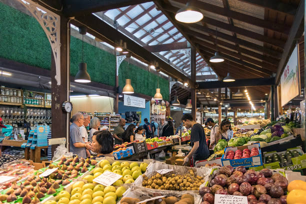 View of the interior of the Old City Market of Fremantle, Australia. stock photo