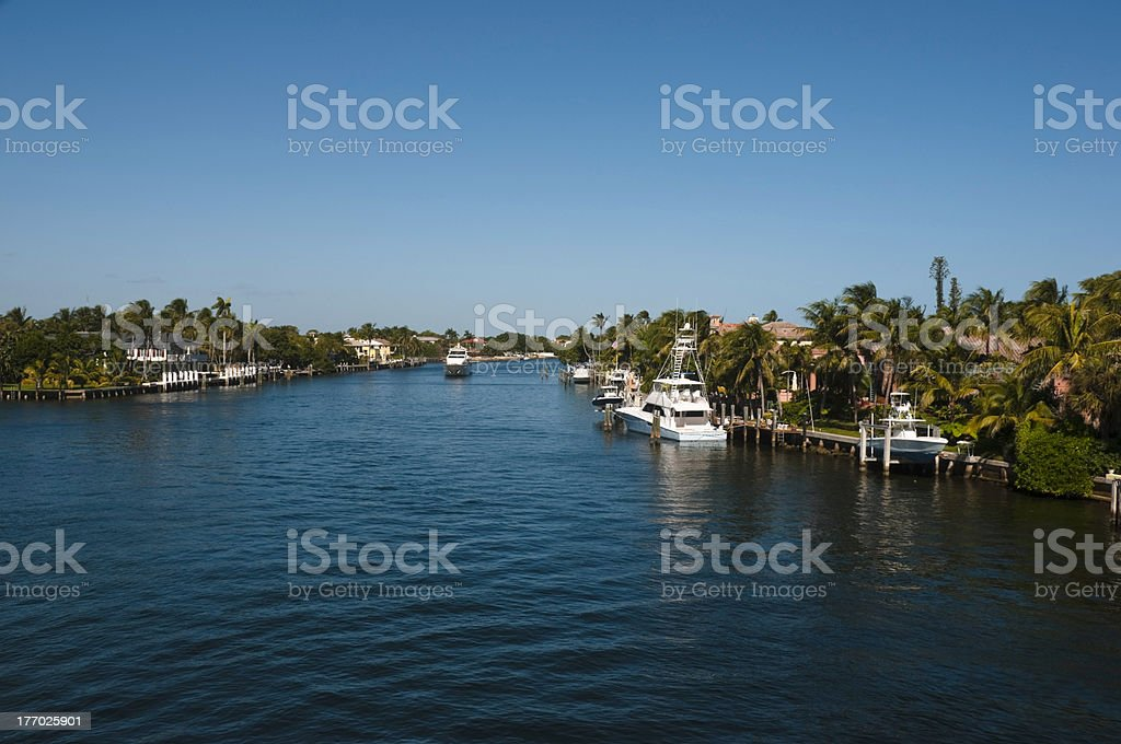 View of the intracoastal waterway Boca Raton, Florida, USA stock photo