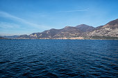 ISEO, ITALY - January, 2018. View of the Iseo lake