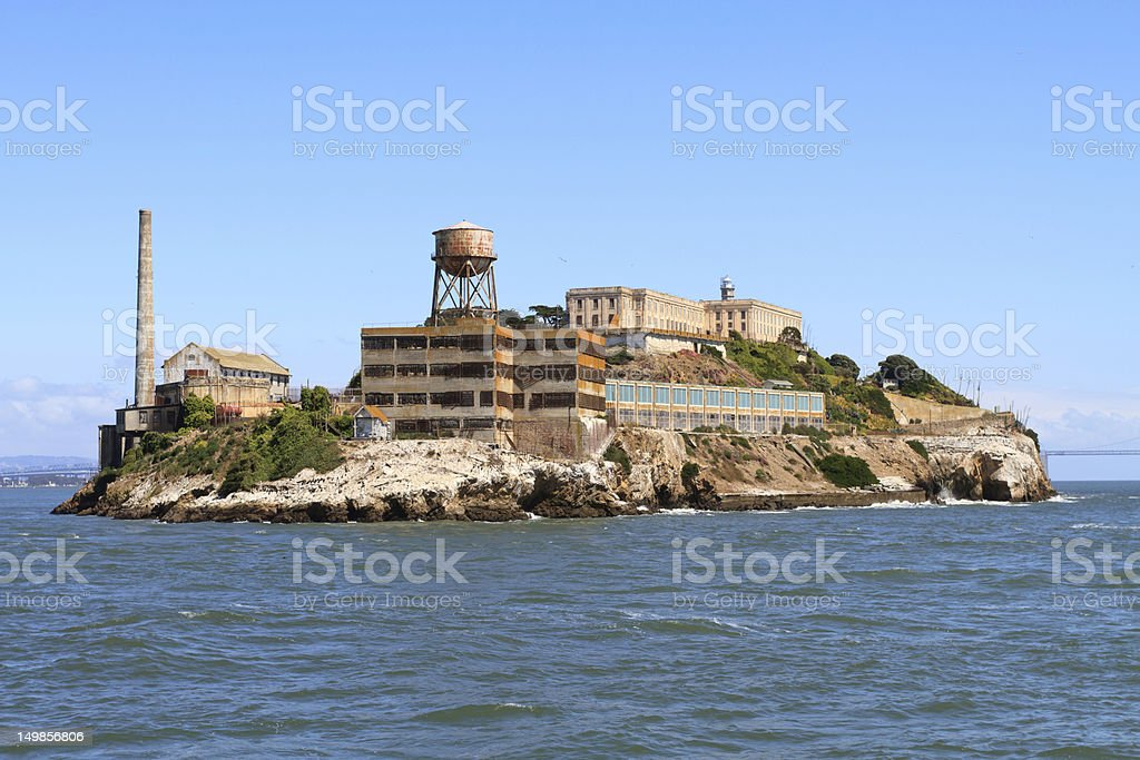 A view of the island Alcatraz from the water stock photo