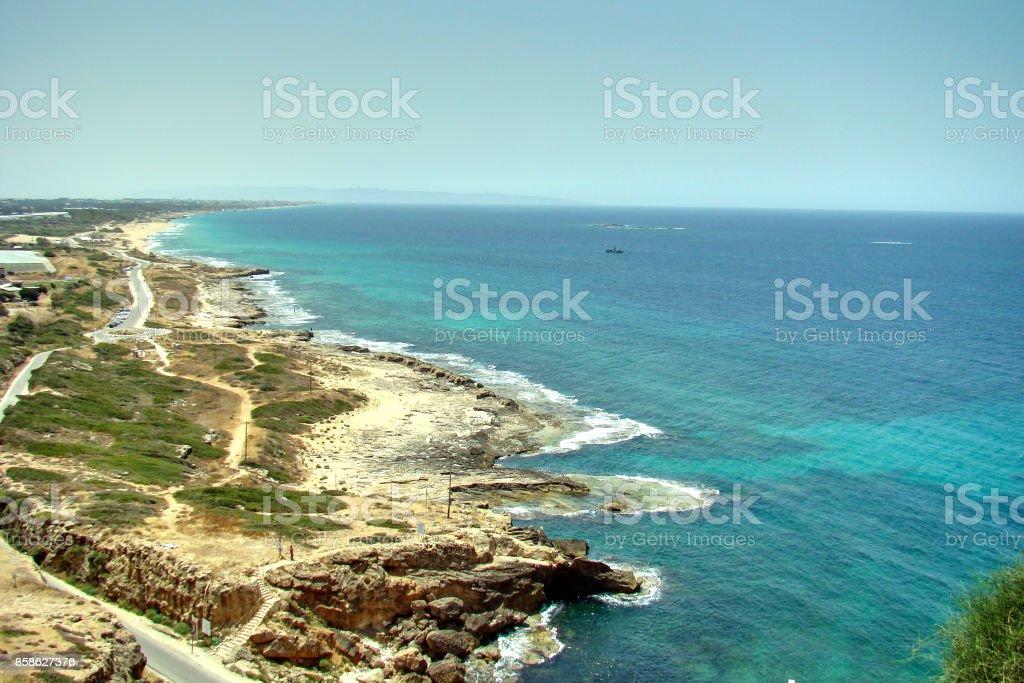 View of the israeli coast of Rosh Hanikra stock photo