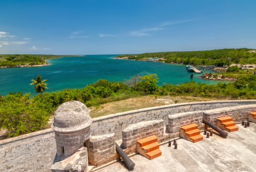 View of the Jagua fortress overlooking the Caribbean Sea
