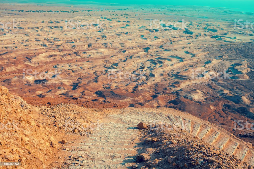 View of the Judean Desert from Mount Yair, Ein Gedi. royalty-free stock photo