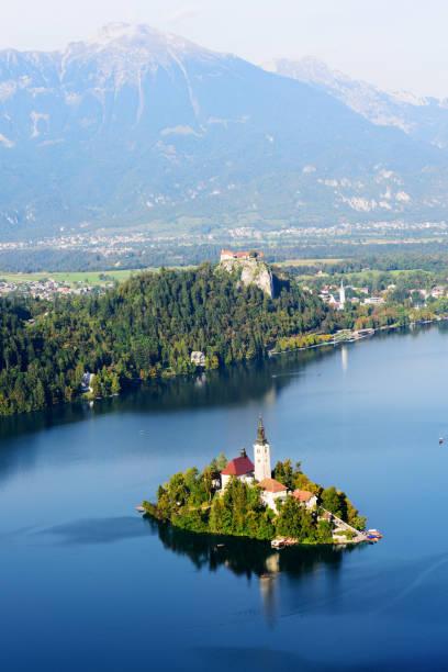 view of  the julian alps, lake bled from osojinca view point, slovenia - ferragosto foto e immagini stock