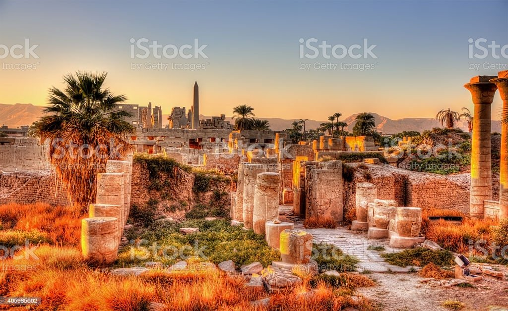 View of the Karnak temple in the evening - Egypt stock photo