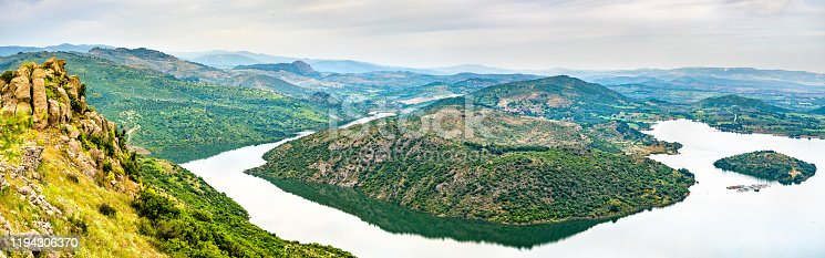 View of the Kestel Dam reservoir from the Pergamon Acropolis in the Izmir Province of Turkey