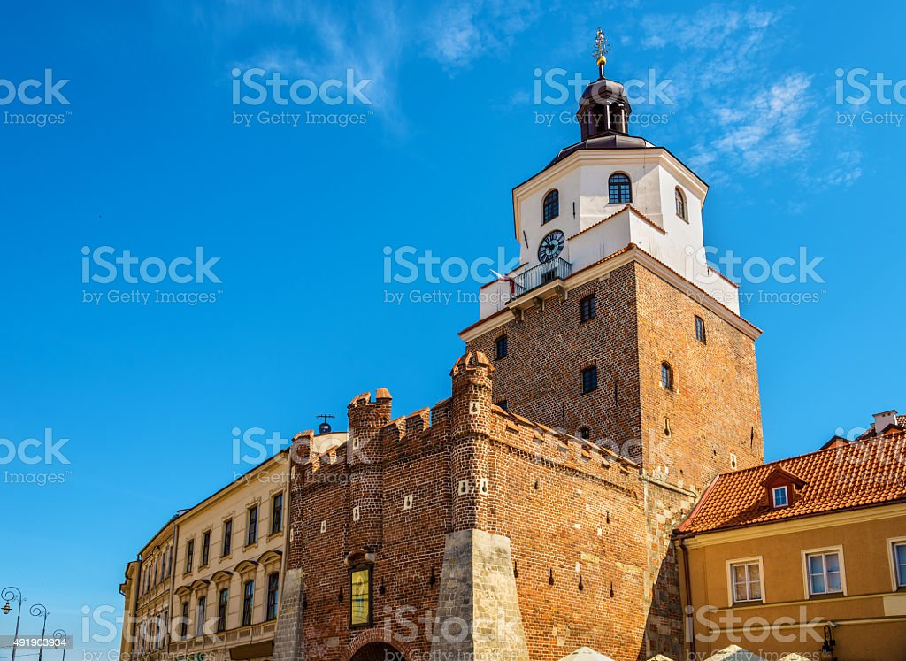View of the Krakow Tower in Lublin - Poland stock photo