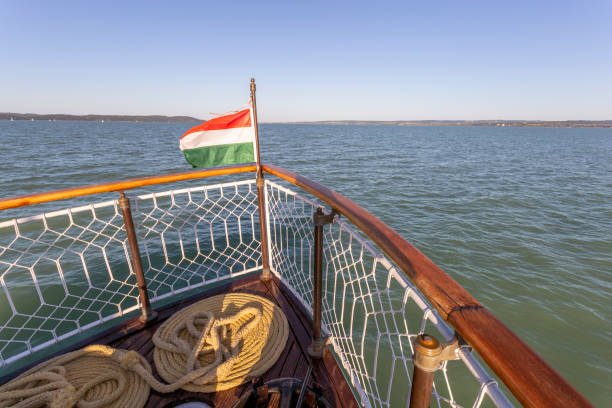 View of the lake Balaton from a pleasure-boat. stock photo