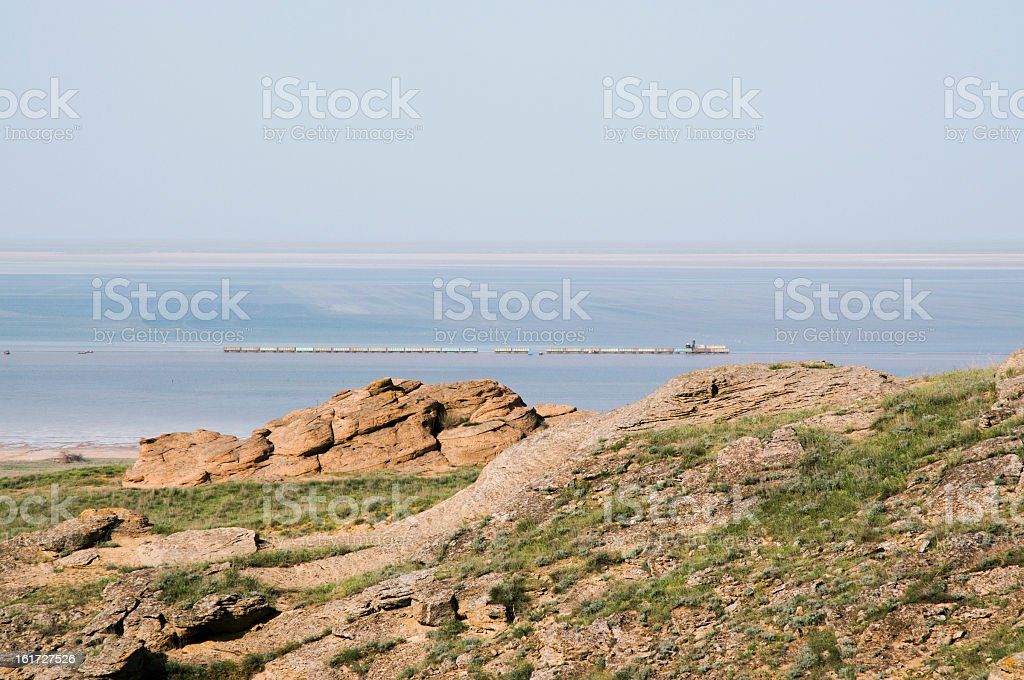 View of the lake Baskunchak. royalty-free stock photo