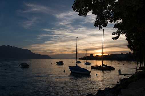 View of the lake Geneva near Montreux at sunset