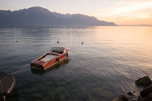 View of the lake Geneva near Montreux, Switzerland, at sunset.