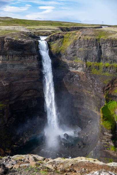 View of the landscape of the Haifoss waterfall in Iceland. stock photo