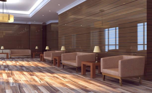 Vista do grande interior do lobby do banco. Fundo do negócio da recepção.. rendição 3D - foto de acervo
