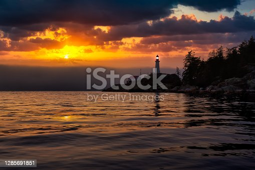 View of the Lighthouse Park. Dramatic Colorful Sunset Artistic Render. Taken in Horseshoe Bay, West Vancouver, British Columbia, Canada.