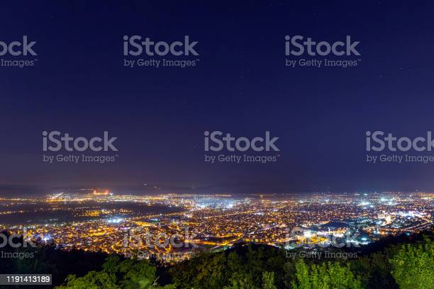 Photo of View of the lights of Bursa city from Mount Uludag at night. Bursa is a large city in Turkey, located in northwestern Anatolia, within the Marmara Region.