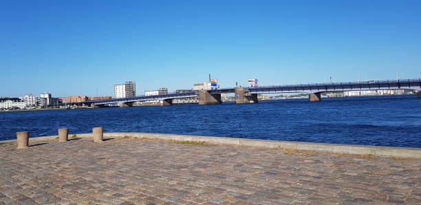 View of the Limfjord brigde in Aalborg stock photo