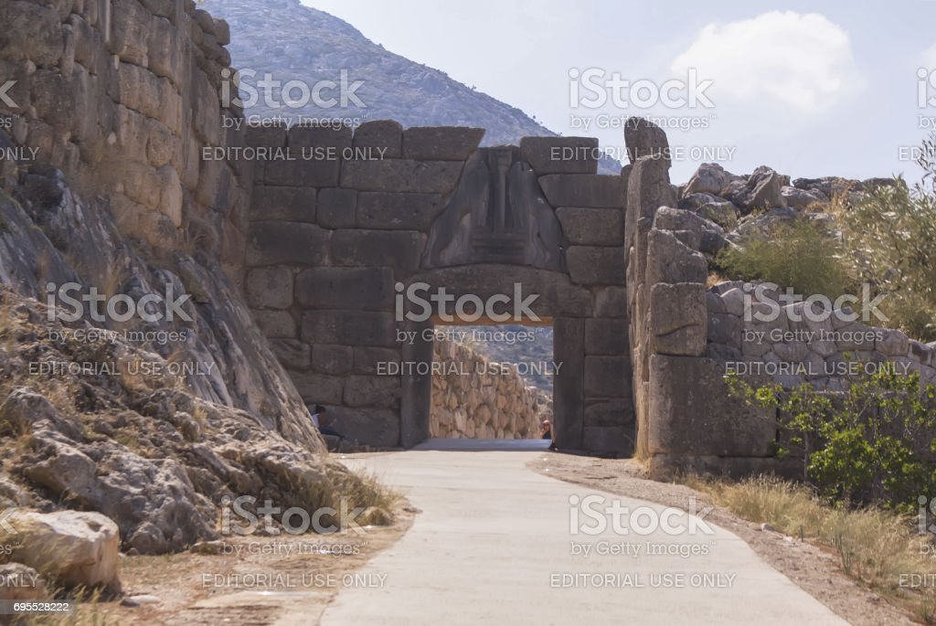 View of the Lion gate at Mycenae. Ancient Troy. A historical place.'n stock photo