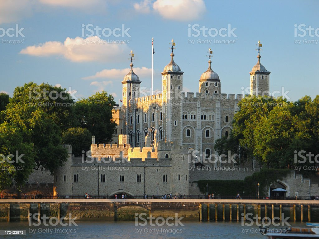 View of the London Tower across the water stock photo