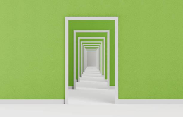Blick auf die lange offene Tür Sequenz 3d illustration – Foto
