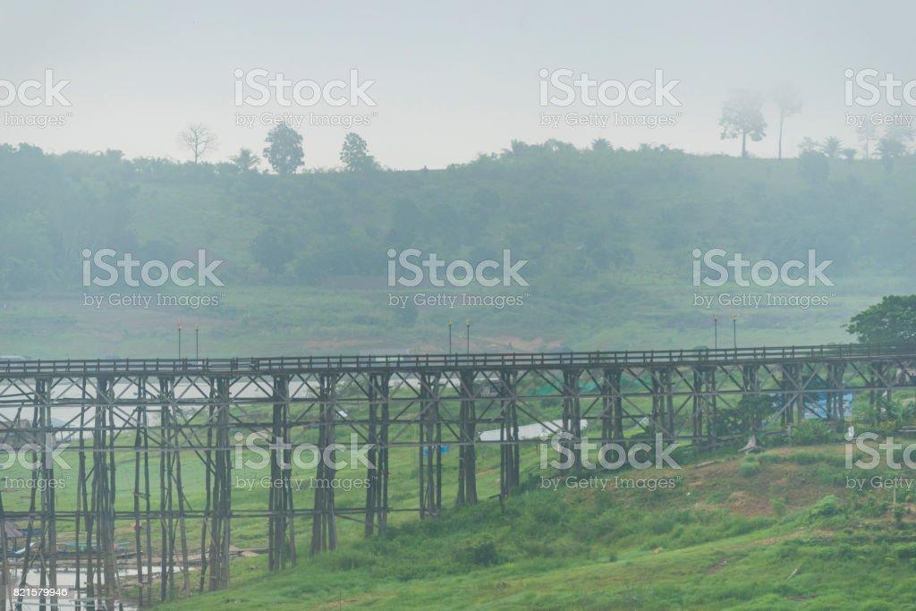 View of the longest wooden bridge in Thailand stock photo