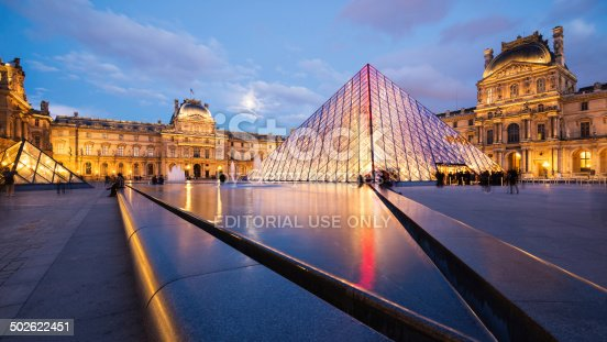Paris, France - May 13, 2014: View of the Louvre Museum and the Pyramid at twilight, it is one of the world's largest museums, a historic monument and a central landmark of Paris.