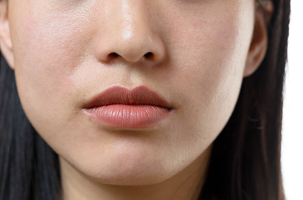 View of the lower facial features of a woman Cropped view of the lower facial features and closed mouth of a young Chinese woman with a serene calm expression and long dark hair human nose stock pictures, royalty-free photos & images