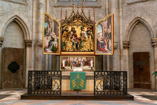 view of the main altar in the minster of Ulm created b Martin Schaffner in 1521 Ulm, BW / Germany - 14 July 2020: view of the main altar in the minster of Ulm created b Martin Schaffner in 1521 ulm minster stock pictures, royalty-free photos & images