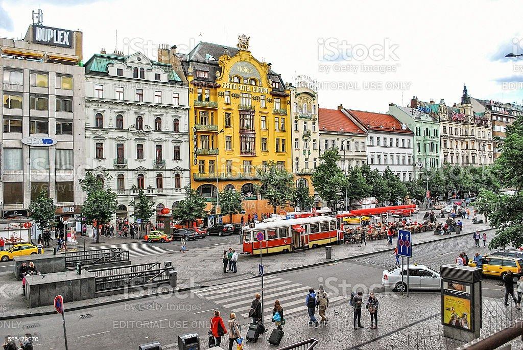 View of the main street of Prague. stock photo