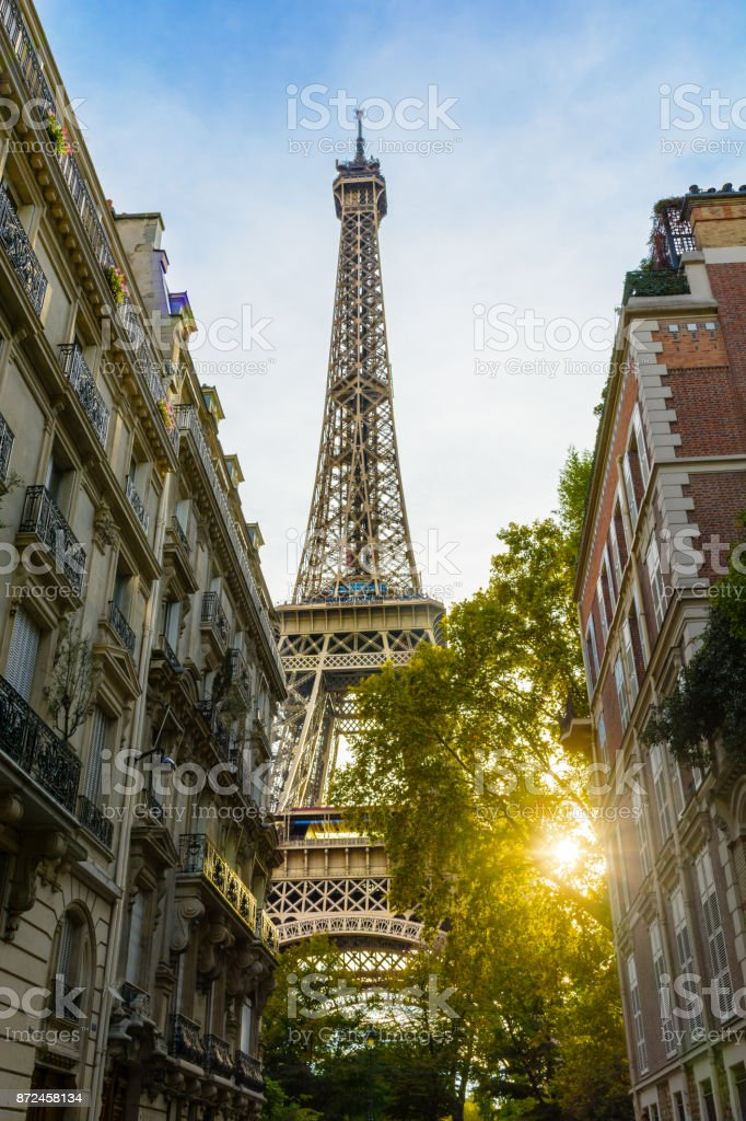 View of the majestic Eiffel Tower in its immediate neighborhood with typical parisian buildings in the foreground and the setting sun bursting through the foliage of a tree stock photo