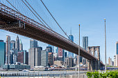 View of the Manhattan Bridge, the coastline and the East River during a sunny springtime day at Brooklyn, New York, USA.