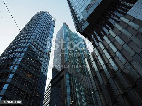 Central, Hong Kong - November 1, 2017: A view of the many modern skyscrapers along Queen's Road Central in Hong Kong.