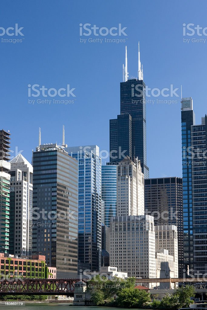 A view of the many tall buildings in downtown Chicago royalty-free stock photo
