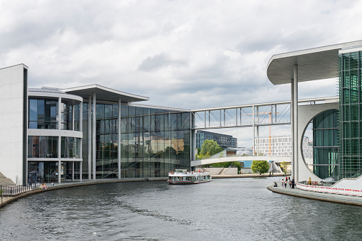 View of the Marie-Elisabeth-Lüders-Haus building and the Spree River at Berlin, Germany.