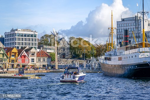 Stavanger, Norway, September 29 - A view of the marina of Stavanger from the touristic port. The city of Stavanger, in the south of Norway, is among the favorite tourist destinations of thousands of tourists, especially visiting cruise ships that sail the routes of northern Europe and the Norwegian coast. Photo in HD format.